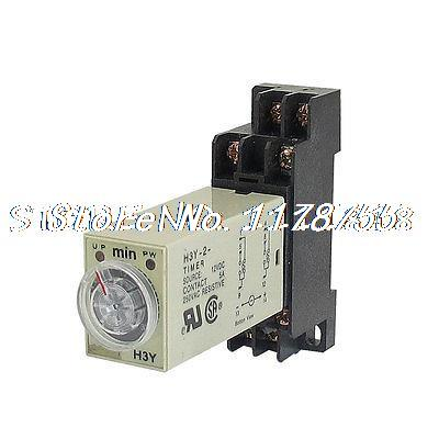 DC 12V 8 Pins DPDT 0-30Min Timer Delay DIN Rail Time Relay H3Y-2 w Base szs hot dc 12v 0 30 seconds 30s electric delay timer timing relay dpdt 8p w base