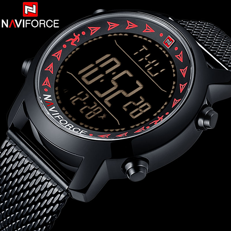 New NAVIFORCE Brand Stainless Steel Quartz Watch Men Waterproof LED Digital Clock Fashion Sport Wristwatch relogio Masculino weide japan quartz watch men luxury brand leather strap stainless steel buckle waterproof new relogio masculino sport wristwatch