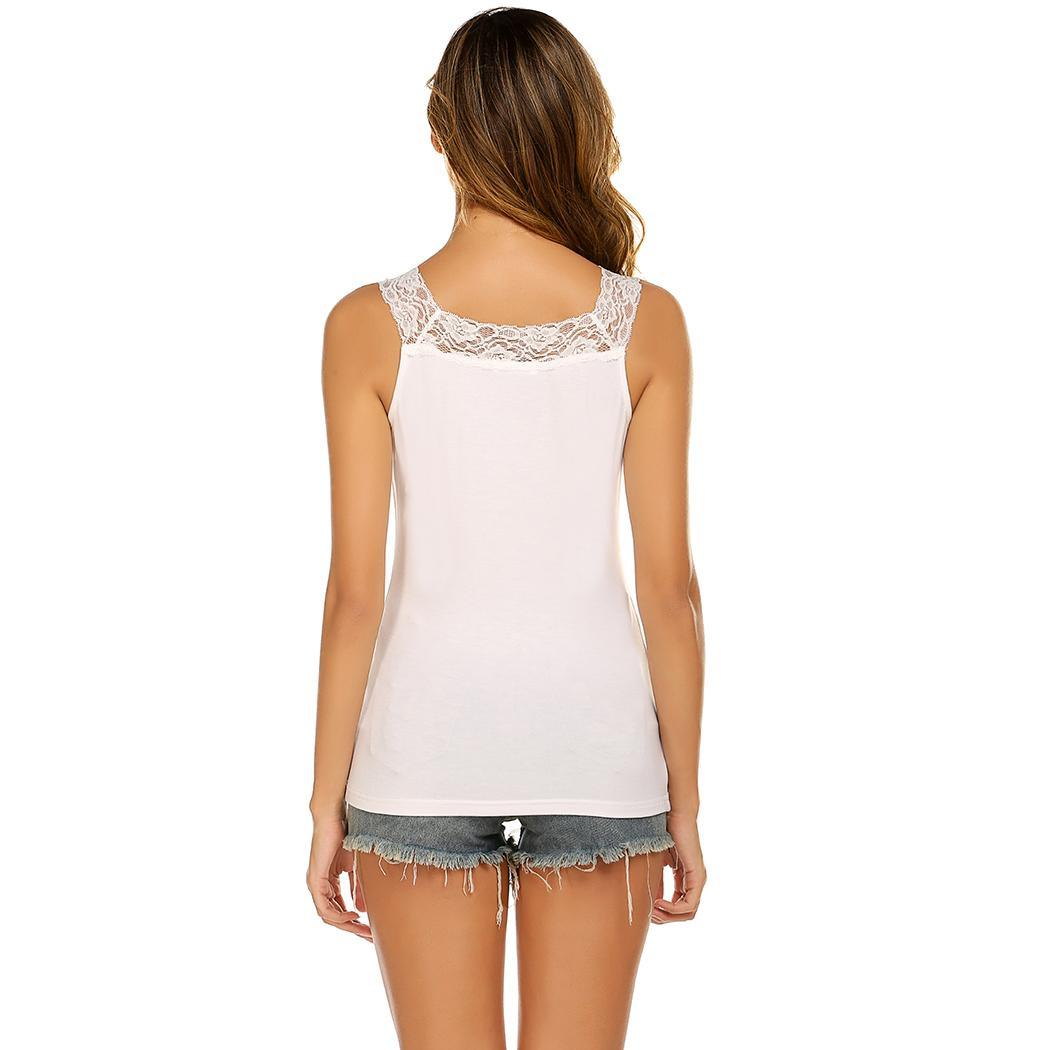 Women Tank Top Casual V-Neck Lace Patchwork Summer Slim Pullover Camisole Vest(China)