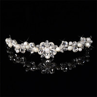 925 Sterling Silver Coroa Wedding Hair Accessories Jewelry CZ Diamond Simulated Pearl Crown Hair Clips For