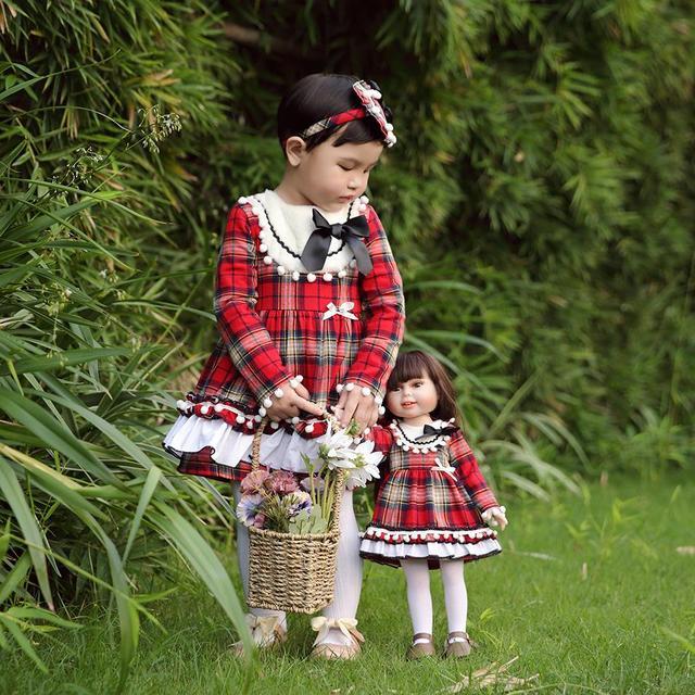 Pettigirl Giáng Sinh Bé Dài Đến Đầu Gối Quần Áo GiftSet Lưới Cô Gái Ăn Mặc với Heardwear Cộng Với Búp Bê Ăn Mặc Boutique Trẻ Em Quần Áo Bộ
