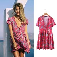2018 Boho Dress Red Floral Print Mini Dress V Neck Short Seeve Women Dresses 2017 New