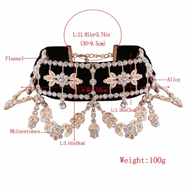 KMVEXO 2017 Fashion Crystal Rhinestone Choker Necklace Velvet Statement Necklace for Women Collares Chocker Jewelry Party Gift 2