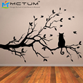 Cat On Branch Tree Wall Sticker Vinyl Wall Art Stickers Poster Kitchen Living Room Decoration Accessories Home Decor 3 Sizes