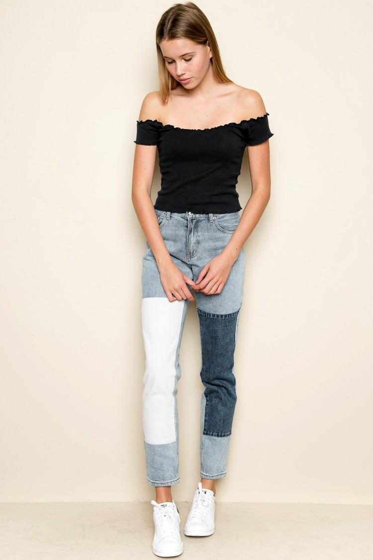 HTB1Yid3OVXXXXXSaFXXq6xXFXXX0 - Striped Knitted Off Shoulder Slash Neck Short Sleeve T Shirt PTC 27