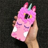 3D Del Fumetto Liquido Cavallo Unicorno Cassa Molle Del Silicone per Samsung Galaxy S3 S4 S5 S6 S7 Bordo S8 S9 Più nota 8 9 A5 A6 A7 A8 2018