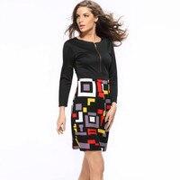 Slim Doodle Zipper Print Package Hip Women S Dress European Style Women High Quality Geometric Multicolor