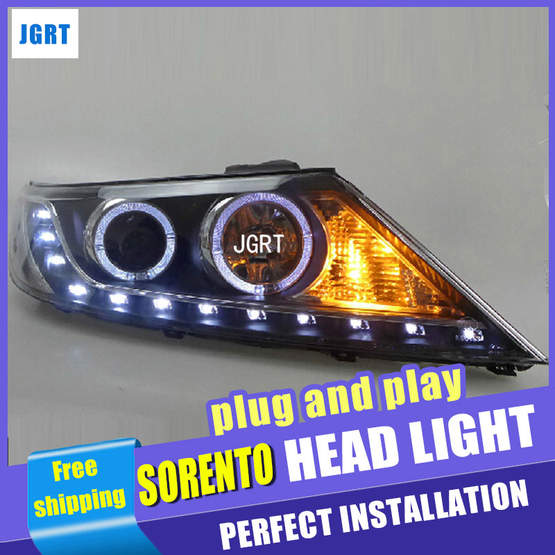 Car Styling For Kia Sorento Headlight assembly 2011-2013 Sorento LED Headlight angel eye headlight BI h7 with hid kit 2 pcs.