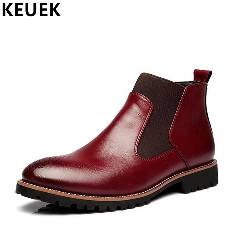 British Style Men Martin boots Slip On Pointed Toe Chelsea Boots Genuine leather Breathable Western Ankle Boots Male shoes 01B british style men chelsea boots genuine leather breathable bullock martin boots pointed toe slip on ankle boots 033