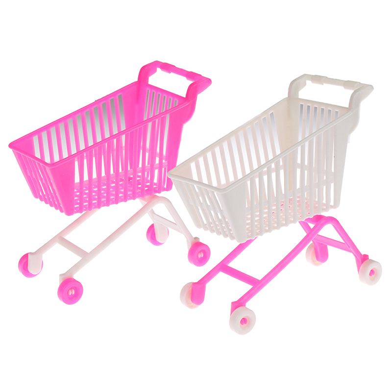 Mini Supermarket Handcart Shopping Utility Cart Mode Storage Toy Doll Accessories Gifts For Kids Pink White Random Color