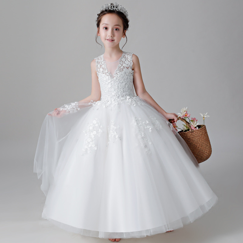 2018 Summer Children Girls White Color Gorgeous Birthday Wedding Party Princess Lace Dress Baby Teens Host Piano Pageant Dress 2017 new arrival summer baby girls white color princess dress children kids birthday wedding party dress pageant sweet dress
