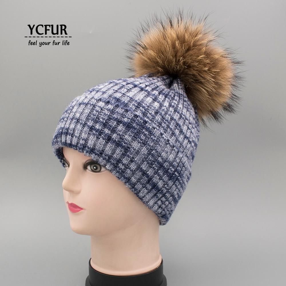 YCFUR Autumn Winter Caps Hats For Female Headgear Women Knit Wool Hats Beanies For Ladies Genuine Fur Pom Hat Cap Girl female caps for autumn