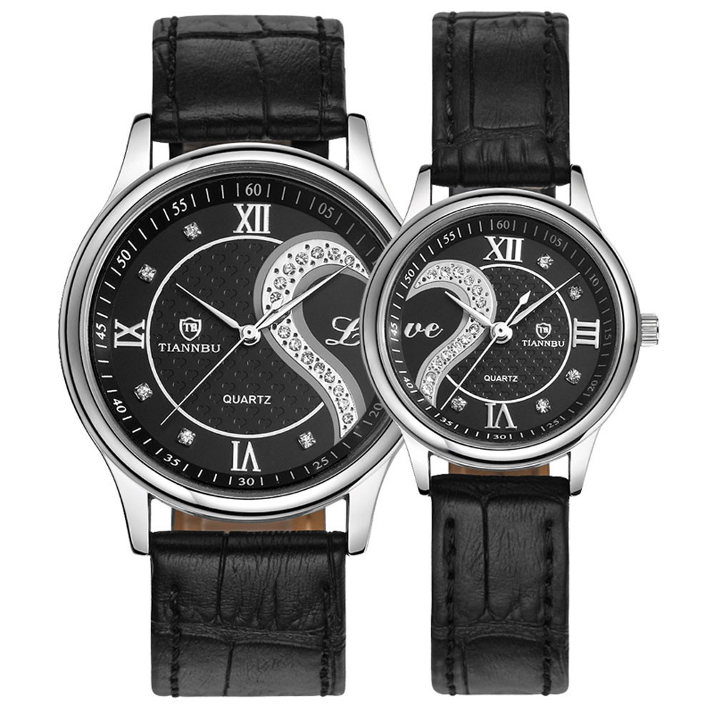 Luxury 1 Pair lovers wristwatches Famous Brand Ultrathin Leather ...