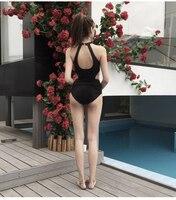 2018 Black Sexy Cross Halter Women Swimwear One Piece Swimsuit Black Red Solid Women Bathing Suits