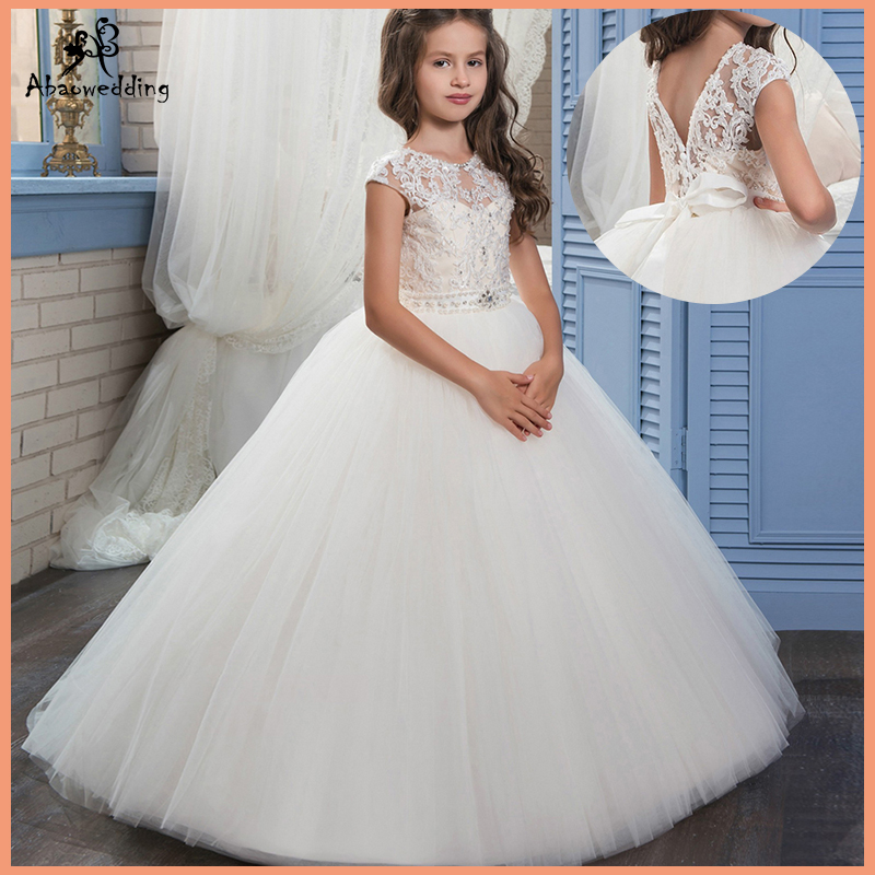 Ivory White Lace Flower Girls Dresses Ball Gown Floor Length Girls First Holy Communion Dress Princess