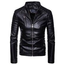 2018 Male Moto & Biker style leather clothing winter coat belt decorate Zipper wristband Leather jacket men EU large size S-XXL