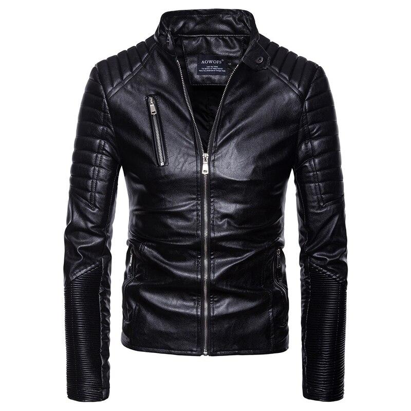 2018 Maschio Moto & Biker stile abbigliamento in pelle cappotto di inverno cintura decorare Cerniera wristband di Cuoio del rivestimento degli uomini di UE di grandi dimensioni s-XXL