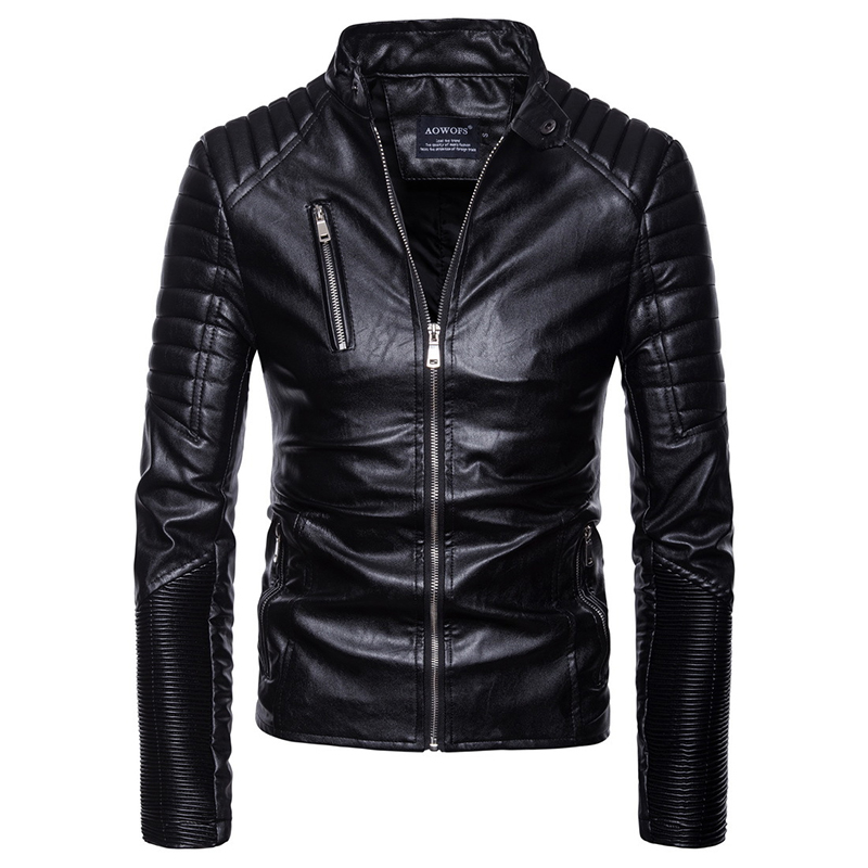 2018 homme Moto & Biker style cuir vêtements hiver manteau ceinture décorer Zipper bracelet en cuir veste hommes EU grande taille S-XXL