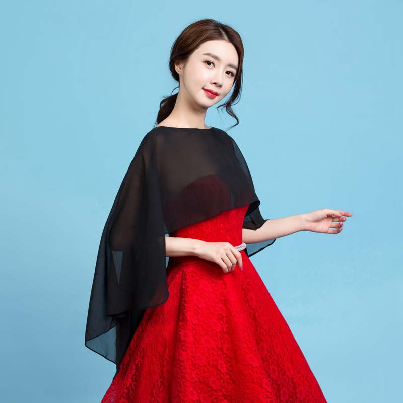 Chiffon Soft Black Women Wraps Elegant Sheer Summer Hot Selling Formal Simple Evening Party Dresses Bridal Wedding Shawls 2019 in Wedding Jackets Wrap from Weddings Events