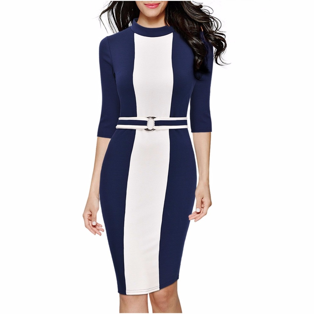 FD3360 Office Lady Fashion Mid calf Pencil Dress O neck Half Sleeve Color Block Patchwork Alloy Circle Belt Knitted Slim Dresses ombre circle calf length socks