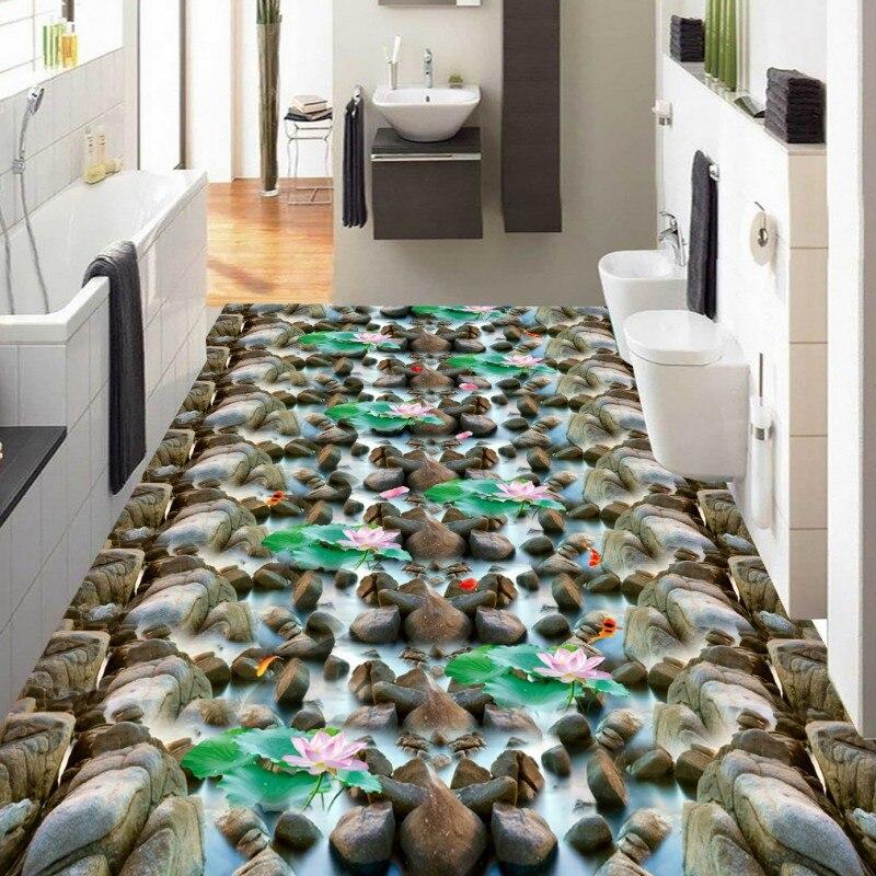 Free Shipping Sea stone pebble lotus carp flooring wallpaper kitchen lobby shopping mall waterproof floor mural lole капри lsw1207 lotus capri m red sea