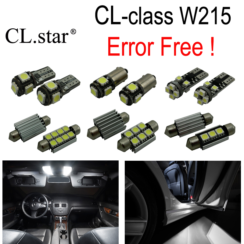 17pc X Error Free LED interior dome light lamp Kit package For Mercedes Benz CL class W215 C215 CL500 CL600 CL55AMG (1999-2006) 10pcs error free led lamp interior light kit for mercedes for mercedes benz m class w163 ml320 ml350 ml430 ml500 ml55 amg 98 05