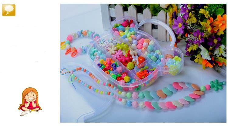 Children DIY Plastic Acrylic Bead Kit Girl Toys DIY Beaded Handmade Bracelet Amblyopia Training Color Puzzle Early Education Toy (17)