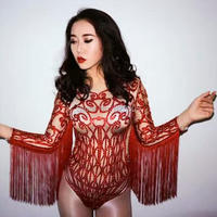Sexy Red Grid Rhinestones Bodysuit Tassel Costume Stage Wear Outfit Dance Body suit Nightclub Bar Costume Singer Shiny clothing
