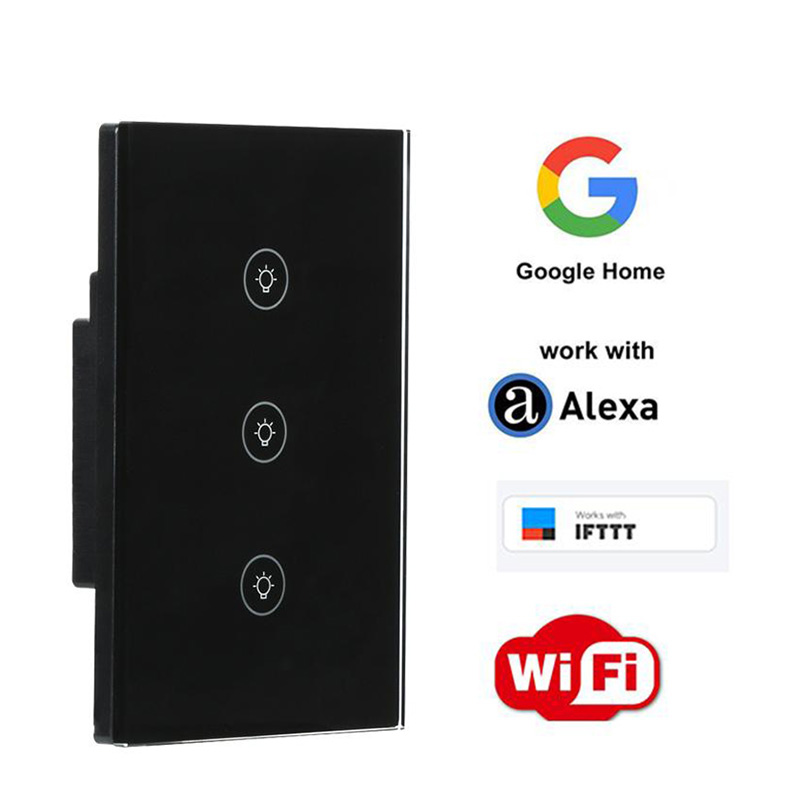 1/2/3 Gang US Plug WiFi Smart Switch Remote Control APP Work with Amazon Alexa Google Home Supported Timing Light Wall Switch qiachip uk plug wifi smart switch 2 gang 1 way light wall switch app remote control work with amazon alexa google home timing
