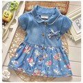 2017 del verano del estilo del ocio niños niñas flor jean dress baby girls lindo arco denim dress kid fashion dress trajes de solapa