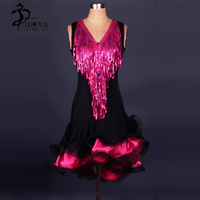 Sleeveless Sequins Latin Dance Dress Girls Ladies Latin Competition Dresses Latin Ballroom Tango Dancing Costumes