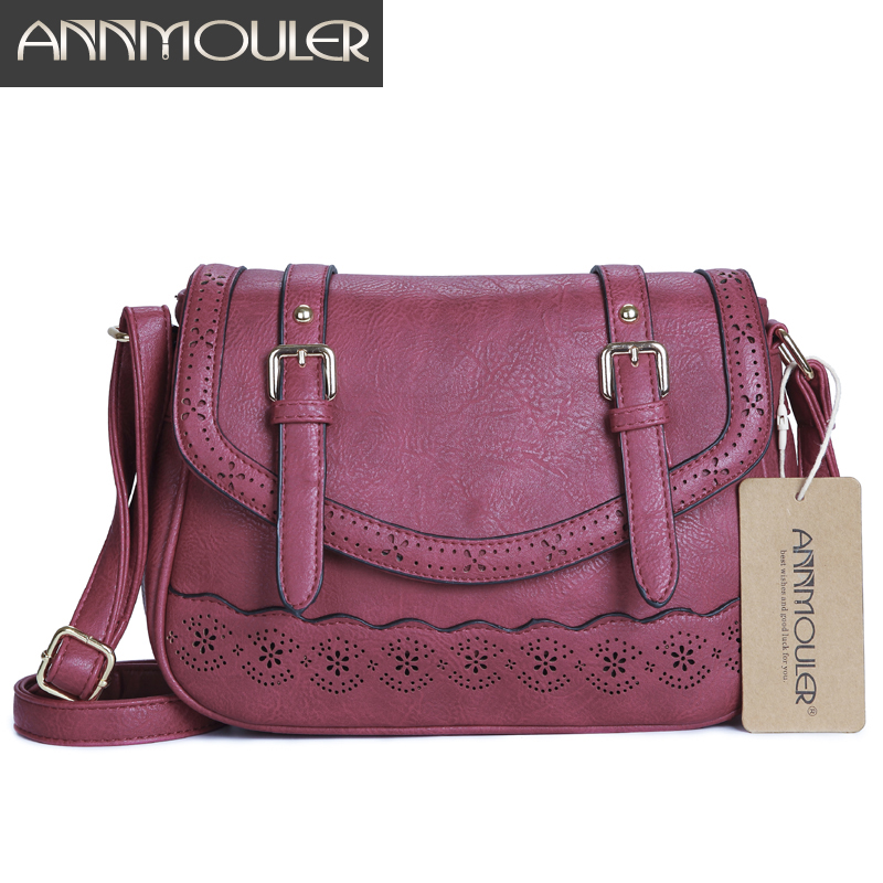 Annmouler Fashion Women Shoulder Bag Pu Leather Crossbody Bag Designer Handbags Hollow Out Messenger Bag Women Bag Female Bolsa