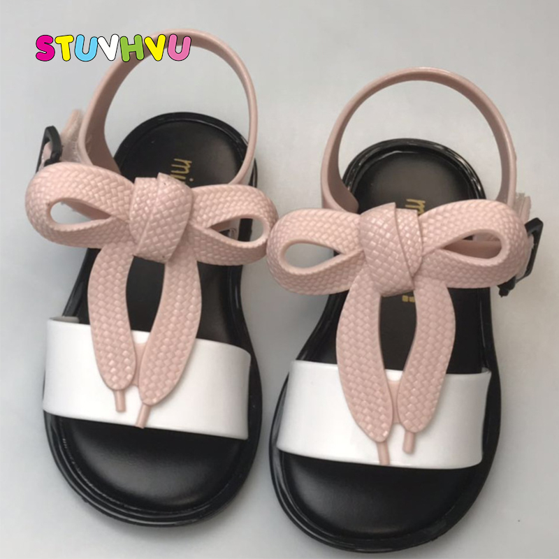 2019 Summer Girls Jelly Sandals Mini Sed Kids Shoes Pvc Rubber Bottom Fashion Bow Princess Shoes Baby Toddler Girls Shoes Flats