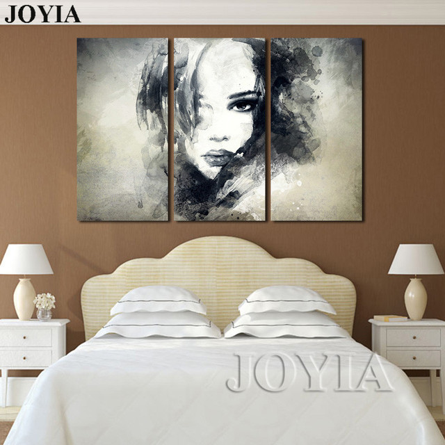 Wall decor canvas art painting watercolor black and white woman face abstract canvas prints bedroom decor