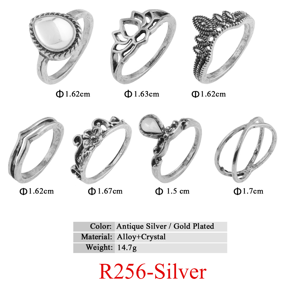 HTB1YiepQVXXXXc.XVXXq6xXFXXXp 11-Pieces Boho Chic Spirituality Silver Plated Antique Stackable Ring Set - 9 Sets