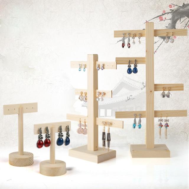 Wood Earrings Display Holder Jewelry Stand Jewellery Rack