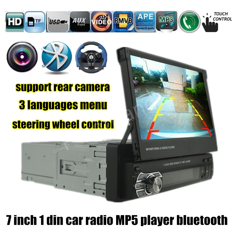 1 DIN 7 Inch Bluetooth Audio Touch Screen Car radio Stereo MP4 MP5 Player USB/TF/FM/AUX steering wheel control rear camera input 12v 4 1 inch hd bluetooth car fm radio stereo mp3 mp5 lcd player steering wheel remote support usb tf card reader hands free