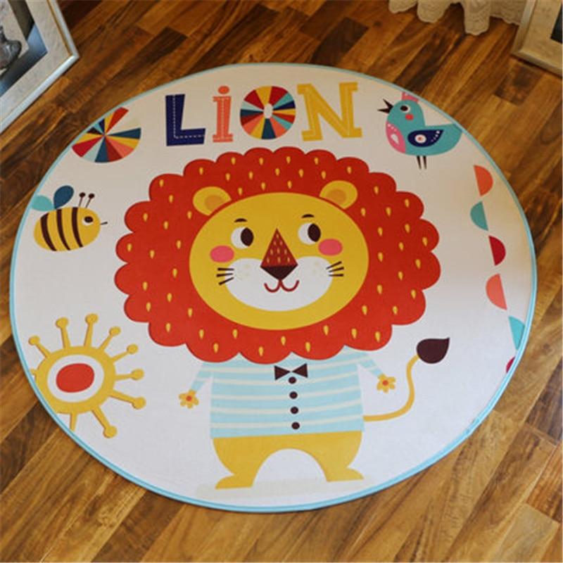 Cute Tiger Cartoon Round Rug Polyester Fabric Mat Kids/Children Round Carpet Diameter 60/80/100/120cm Floor Tapete