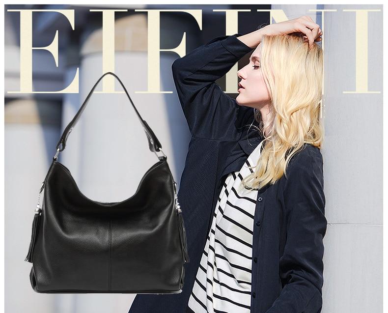 2017 New Fashion Soft Real Genuine Leather Tassel Woman Handbag Ladies shoulder tote messenger bag purse satchel black white