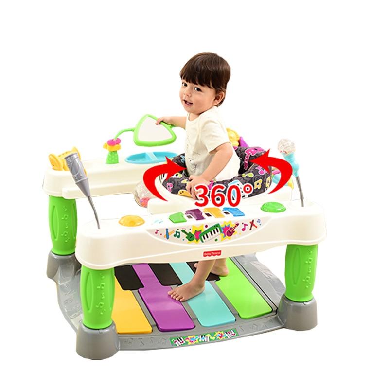Trotteur bébé musical piano babytrône, marcheur enfant anti-retournement, marcheur enfant en bas âge avec musique piano et lumière