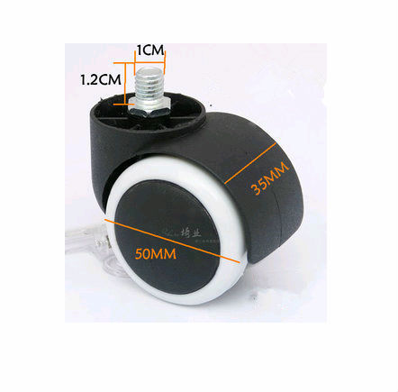 50mm Threaded Rod Nylon&PU Rubber Plastic Swivel Nylon Desk PU Polyurethane Caster Wheel 60kg