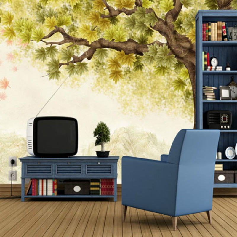 Aliexpress.com : Buy Custom Large Wall Mural 3D Wallpaper TV Backdrop 3D  Wallpaper Modern Minimalist Retro Korean Garden Hand Painted Tree From  Reliable ...
