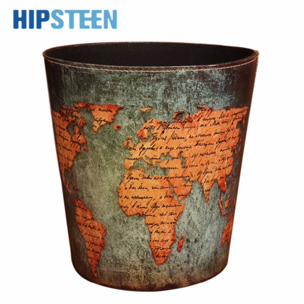 HIPSTEEN Creative European Style Garbage Pail Retro PU Leather Wastebasket World Map Pattern Style Round Trash Can Home&Office