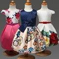 La Niña de Princesa Dress 2017 Marca Summer Flower Party Girls Vestidos Ropa Niños Sin Mangas Correa Tutu Vestidos Prinses