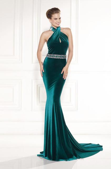 floor length green halter gowns
