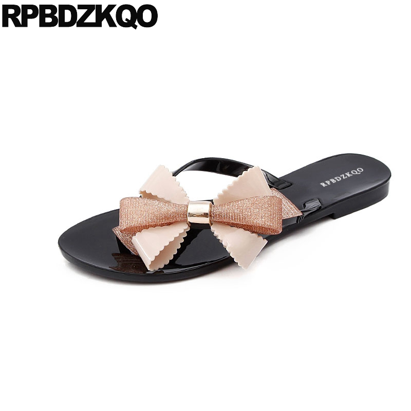 b302b3dfe721ab Kawaii Cheap Jelly Flip Flop Beach Plus Size Women Sandals Flat Summer 2018  Shoes Plastic Bow Pvc Slippers Cute Bowtie Slides