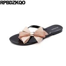 8156cde1c1b96 Kawaii Cheap Jelly Flip Flop Beach Plus Size Women Sandals Flat Summer 2018  Shoes Plastic Bow Pvc Slippers Cute Bowtie Slides