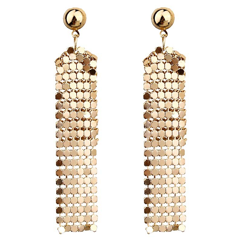 <font><b>Sexy</b></font> Goddess Exaggerated Temperament Color Sequins Tassel Geometric Shiny <font><b>Long</b></font> <font><b>Earrings</b></font> <font><b>Women's</b></font> Jewelry Earings Fashion Jewelry image
