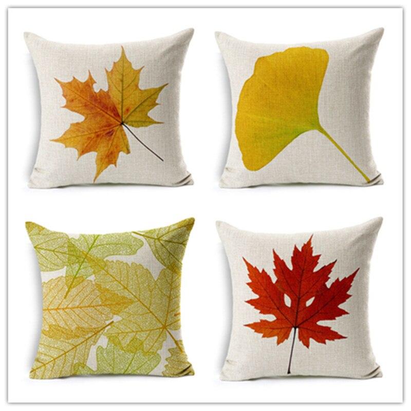 ᗔEstilo natural imprimir inicio cojines decorativos hojas patrón ...