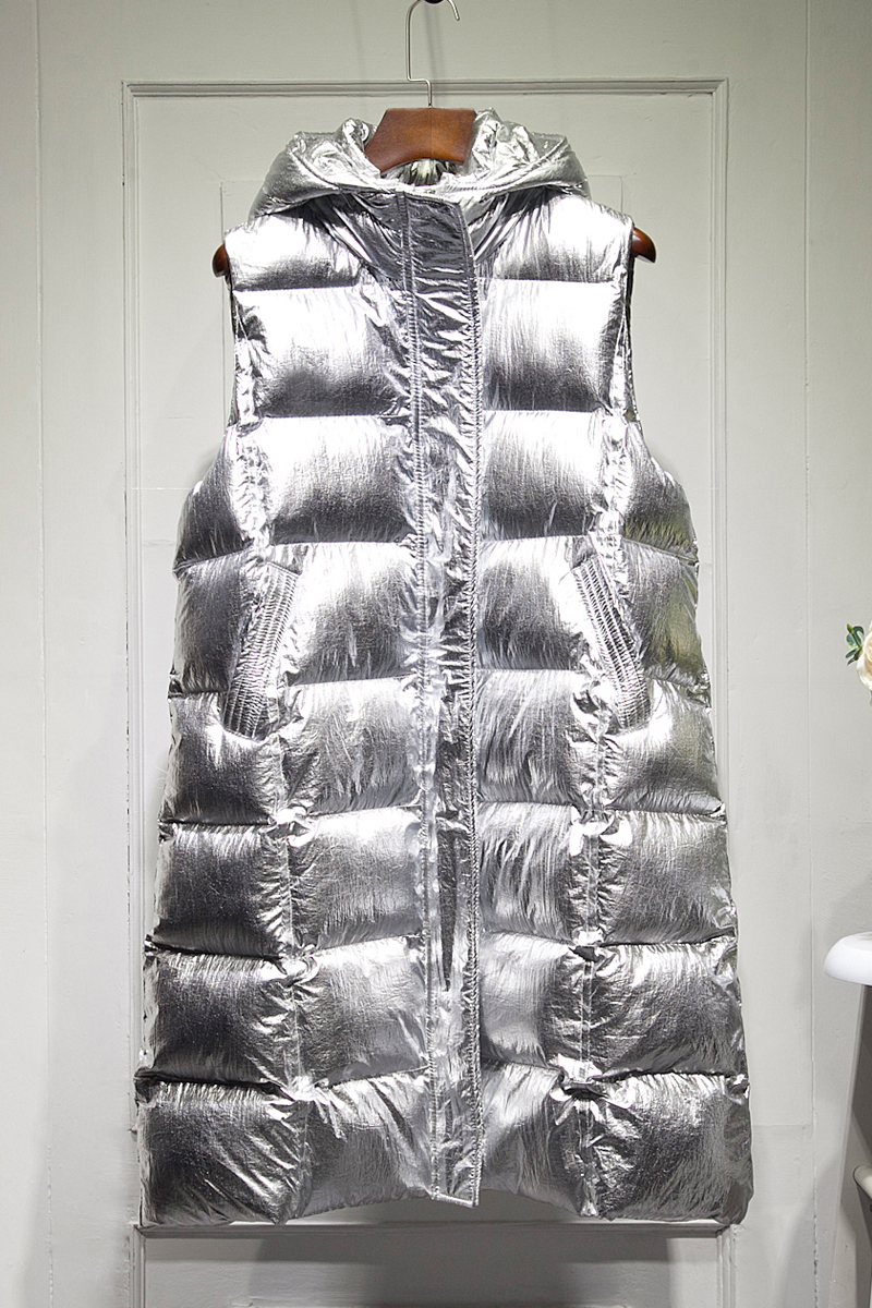 Vêtements Argent Or D'hiver Femelle Nouvelle Brillant Or Long 2019 Manteau Femmes Streetwear Mode Fille Gilet argent Veste HwTAWqP6